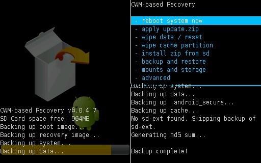 Nandroid backup screenshot 2 شرح تركيب روم اندرويد 5 لولي بوب لهاتف Samsung Galaxy Core i8262
