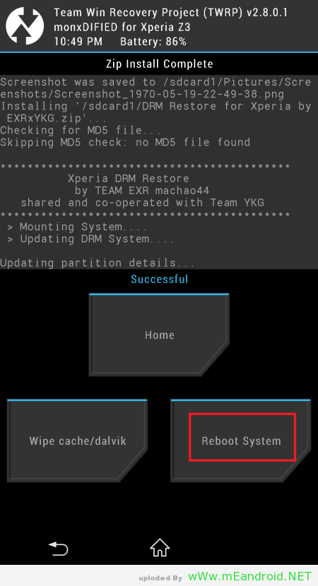 Screenshot 1970 05 19 22 49 54 استرجاع DRM Keys لهاتف XPERIA Z3 بعد فتح Bootloader
