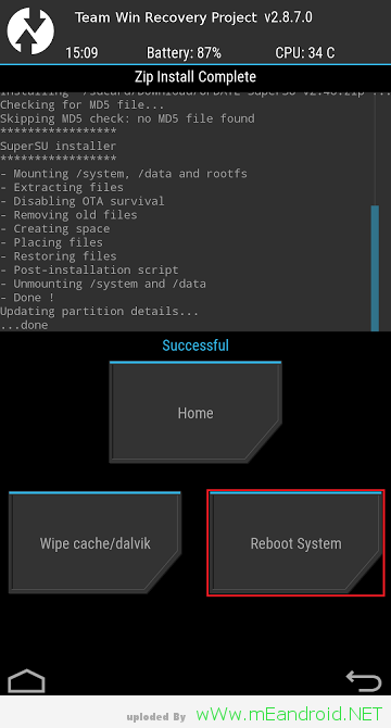 TWRP Reboot System ريكفري TWRP وعمل روت لهاتف Galaxy Note 2 Sprint