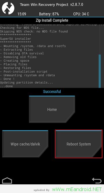 TWRP Reboot System تركيب روت و ريكفري TWRP لهاتف Galaxy J7 Exynos