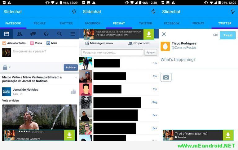 Slidechat montage 768x455 Slidechat لتشغيل تويتر و فيس بوك و ماسنجر في تطبيق واحد