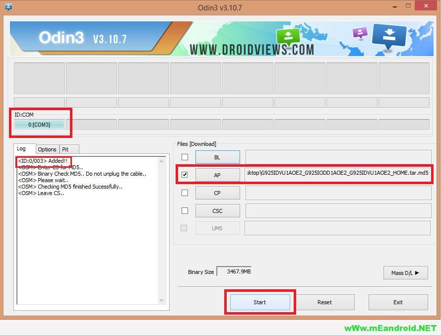 Odin3 v3.10.7 firmware installation 1 تثبيت روم اندرويد مارشيملو العربي الرسمي لهاتف Galaxy J7 SM J700H