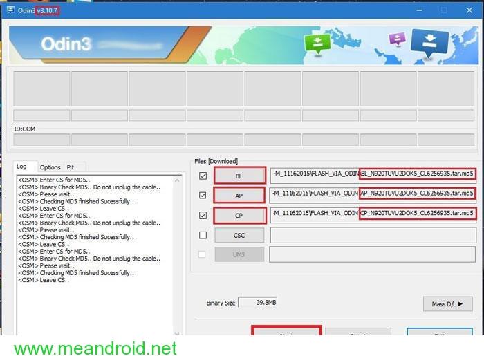 odin flashing شرح تثبيت اندرويد 6.0 مارشيملو علي هواتف T Mobile Galaxy Note 5