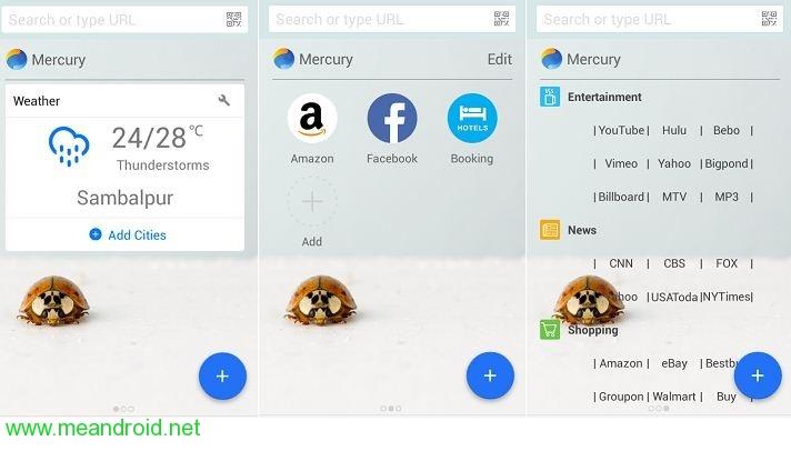 42 User Interface مراجعه متصفح Mercury افضل متصفحات الانترنت للاندرويد